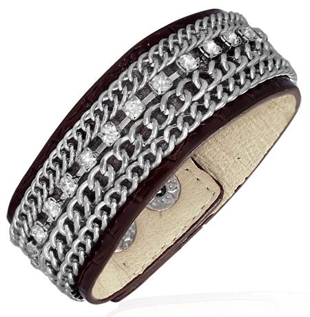 Кожаный браслет с цирконами и сталью