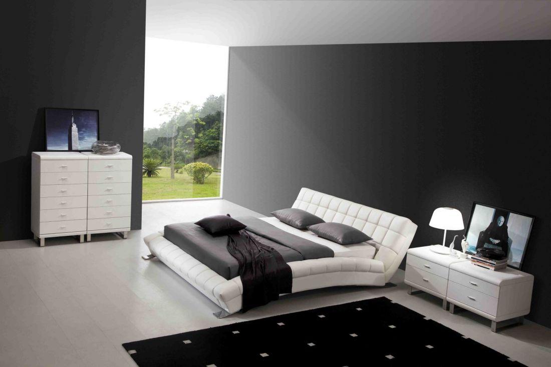 Кожаная кровать AY197 белая NightCat | LineSleep