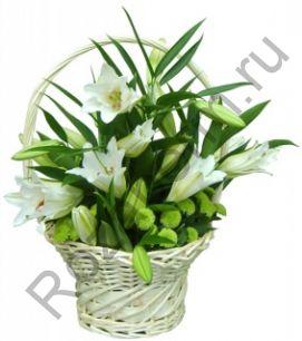 Корзина с 3 лилиями с зеленью