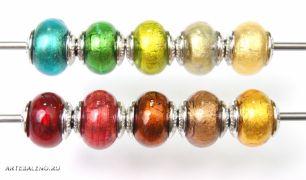 Бусины Foglia Oro муранское стекло