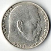 2 рейхсмарки. 1938 год. J. Серебро.