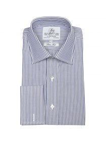 Мужская рубашка под запонки в синюю полоску Harvie & Hudson приталенная Slim Fit (01J0098NVY)