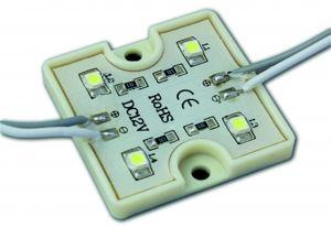 Модуль светодиодный водозащищенный смд 4 диода 3528, размер 36*36 мм, пластиковый корпус