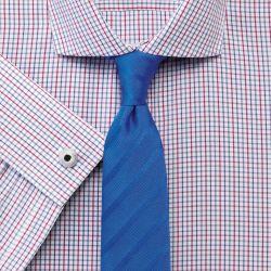 Мужская рубашка под запонки в красно-синюю клетку Charles Tyrwhitt сильно приталенная Extra Slim Fit не мнущаяся Non Iron (RG083MLT)