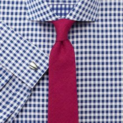 Мужская рубашка под запонки в синюю клетку Charles Tyrwhitt сильно приталенная Extra Slim Fit не мнущаяся Non Iron (RG085RYL)