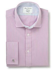 Мужская рубашка под запонки в красную полоску T.M.Lewin сильно приталенная Fully Fitted (48005)