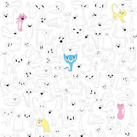 раскраски Кошки горизонтальные