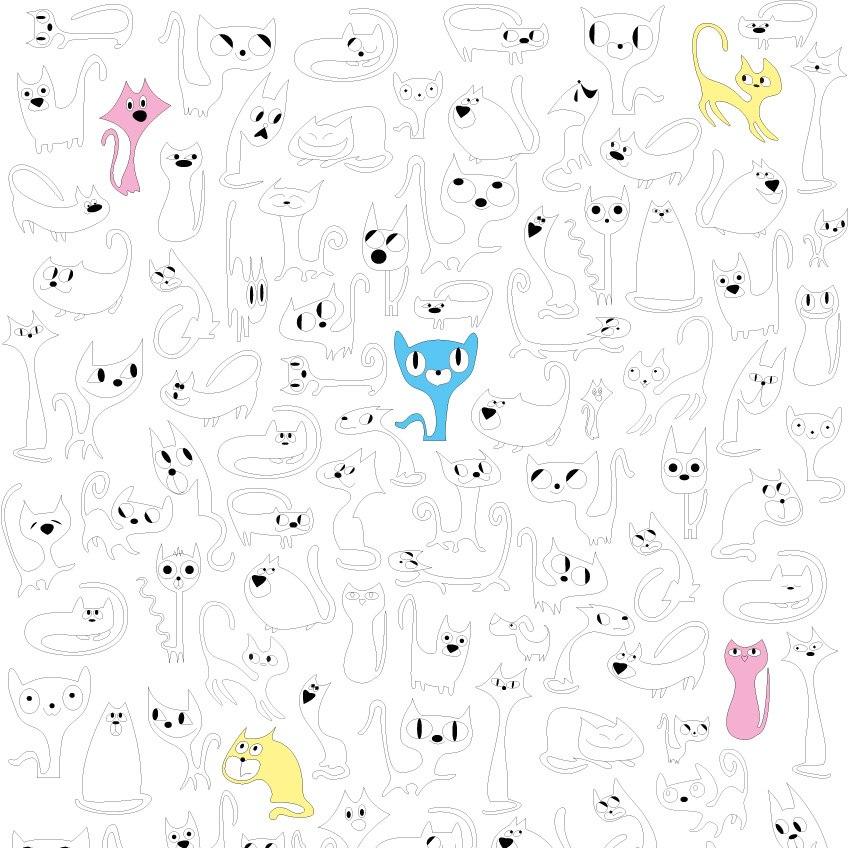 обои-раскраски Кошки горизонтальные