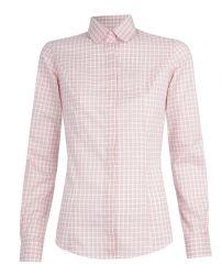 Женская рубашка в розовую клетку T.M.Lewin приталенная Fitted (48235)