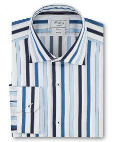 Мужская рубашка белая в синюю полоску T.M.Lewin приталенная Slim Fit (49435)