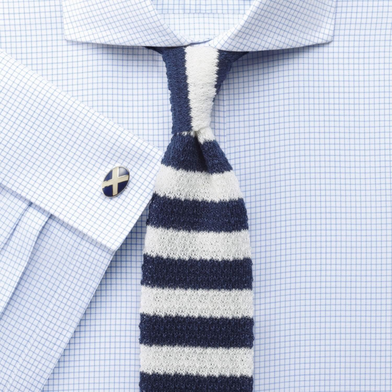 9eb0d45b428 Мужская рубашка мелкую синюю клетку Charles Tyrwhitt не мнущаяся Non Iron сильно  приталенная Extra Slim Fit