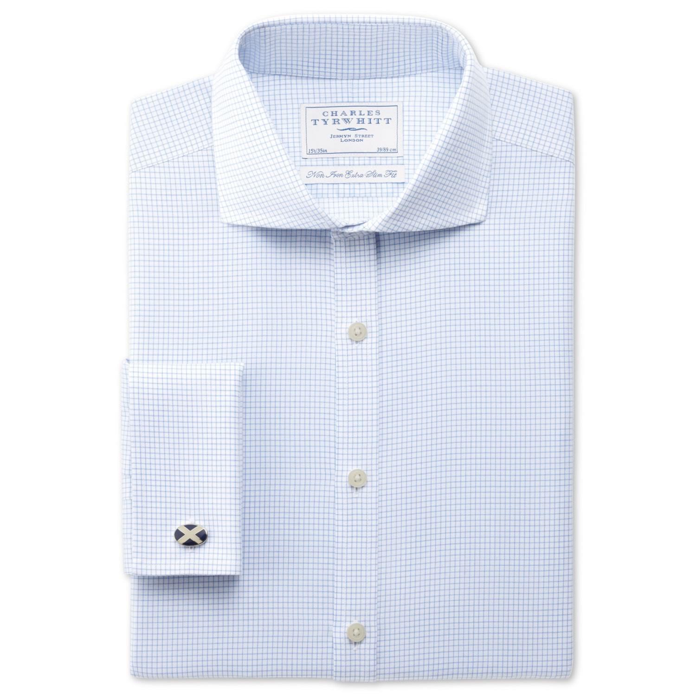 156e7a89622 Увеличить изображение · Мужская рубашка мелкую синюю клетку Charles Tyrwhitt  не мнущаяся Non Iron сильно приталенная Extra Slim Fit