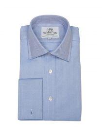 Мужская рубашка под запонки большого размера с длинным рукавом синяя Harvie & Hudson приталенная Slim Fit (01J0174BLU)