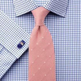 Мужская рубашка под запонки белая в синюю клетку Charles Tyrwhitt не мнущаяся Non Iron приталенная Slim Fit (FA092BLU)