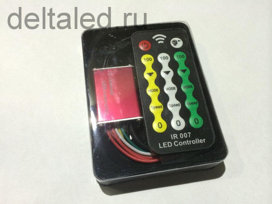 Контроллер светодинамики для светодиодов на ИК-управлении 4А на канал с возможностью настройки яркости и скорости каждого канала