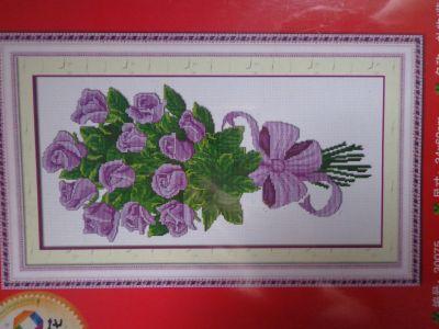 """Купить набор для вышивания крестом """"Букет фиолетовых роз"""""""