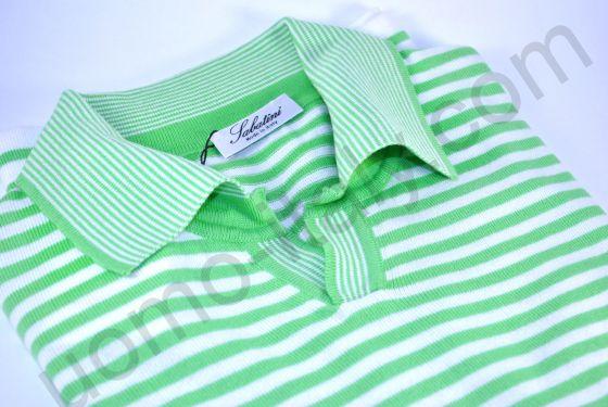 Рубашка-поло в зеленую полоску (последний размер 44)
