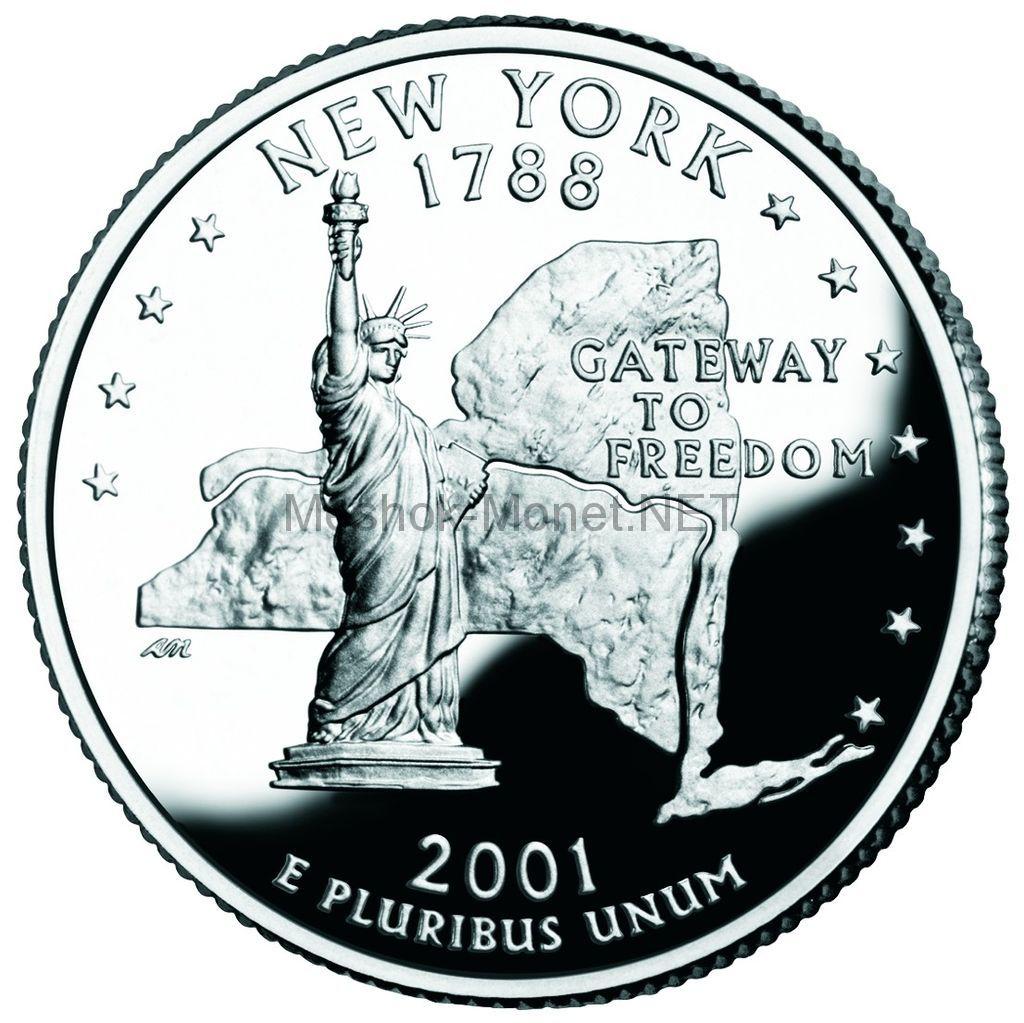 25 центов США 2001 штат Нью-Йорк