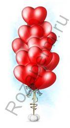 """Связка из 11 шаров в форме сердец с гелием 12"""""""