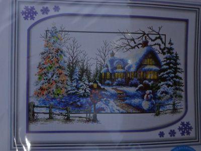 """Купить набор для вышивания крестом """"Зима в деревне"""""""