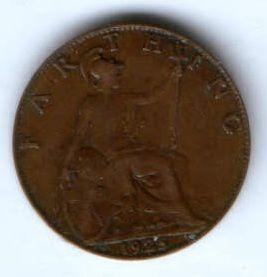 1 фартинг 1925 г. Великобритания