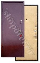 Металлические двери порошковый окрас с броне полосой+винилискожа