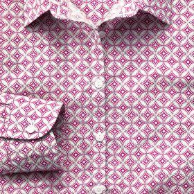 Женская рубашка пурпурная с рисунком Charles Tyrwhitt  приталенная Fitted (WE079PUR)
