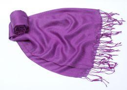 Фиолетовый палантин из шелка с шерстью (под заказ)