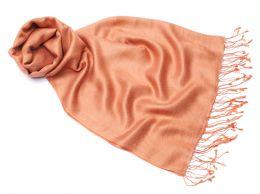 TREND! Палантин цвета чайной розы из шелка и шерсти (под заказ)