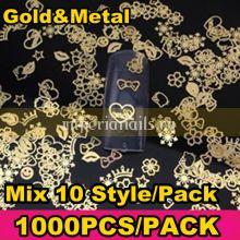 Деко для дизайна ногтей 1000 шт Gold Mix