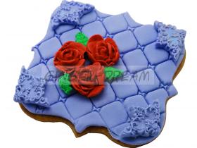 """Имбирные пряники """"Розы"""" с сахарной мастикой"""