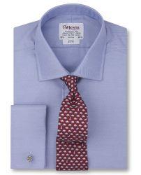 Мужская рубашка под запонки синяя T.M.Lewin приталенная Slim Fit (52547)