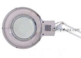 Лампа лупа на струбцине круглая настольная 3Х с подсветкой, белая  REXANT