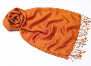 Оранжевый индийский палантин из шелка с шерстью (под заказ)