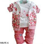Розовый спортивный костюм, брюки и футболка для девочки
