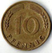 10  пфеннигов. 1950 год. J.