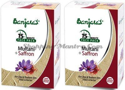 Маска для лица лечебная глина&шафран Банджарас / Banjara's Multani&Saffron Face Pack