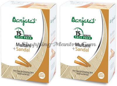 Маска для лица лечебная глина&сандал Банджарас / Banjara's Multani&Sandal Face Pack