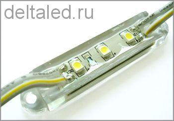 Модуль светодиодный водозащищенный смд 3 диода 3528, размер 39*12 мм, пластиковый корпус
