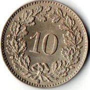 Швейцария, 10 раппенов. 1925 год.