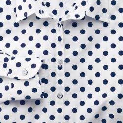 Женская рубашка белая в темно-синий горошек Charles Tyrwhitt приталенная Fitted (WE090WNV)
