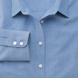 Женская рубашка серо-синяя, мягкая ткань шамбре, Charles Tyrwhitt приталенная Fitted (WW059BLU)