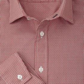 Мужская рубашка красная в мелкую клетку T.M.Lewin приталенная Fully Fitted (42857)