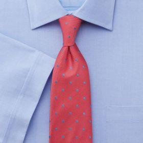 Мужская рубашка c коротким рукавом синяя Charles Tyrwhitt не мнущаяся Non Iron приталенная Slim Fit (FN475SKY)