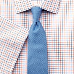 Мужская рубашка c коротким рукавом белая в оранжево-синюю клетку Charles Tyrwhitt не мнущаяся Non Iron приталенная Slim Fit (FN478ORG)