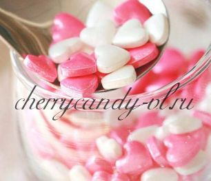 Посыпка сердечки розовые и белые, глазурированные (7 мм)