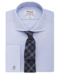 Мужская рубашка под запонки светло-сиреневая T.M.Lewin приталенная Slim Fit (53203)
