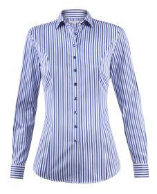 Женская рубашка под запонки белая в синюю полоску хлопок T.M.Lewin приталенная Fitted (53306)