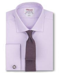 Мужская рубашка под запонки сиреневая T.M.Lewin приталенная Slim Fit (52492)