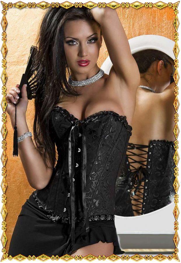 Черный корсет Милая на бюске